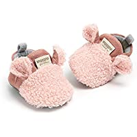 Meckior Newborn Infant Baby Boys Girls Cozy Fleece Booties Cotton Lining Warm Slippers First Walkers Shoes (11cm(0-6months), A-Pink)