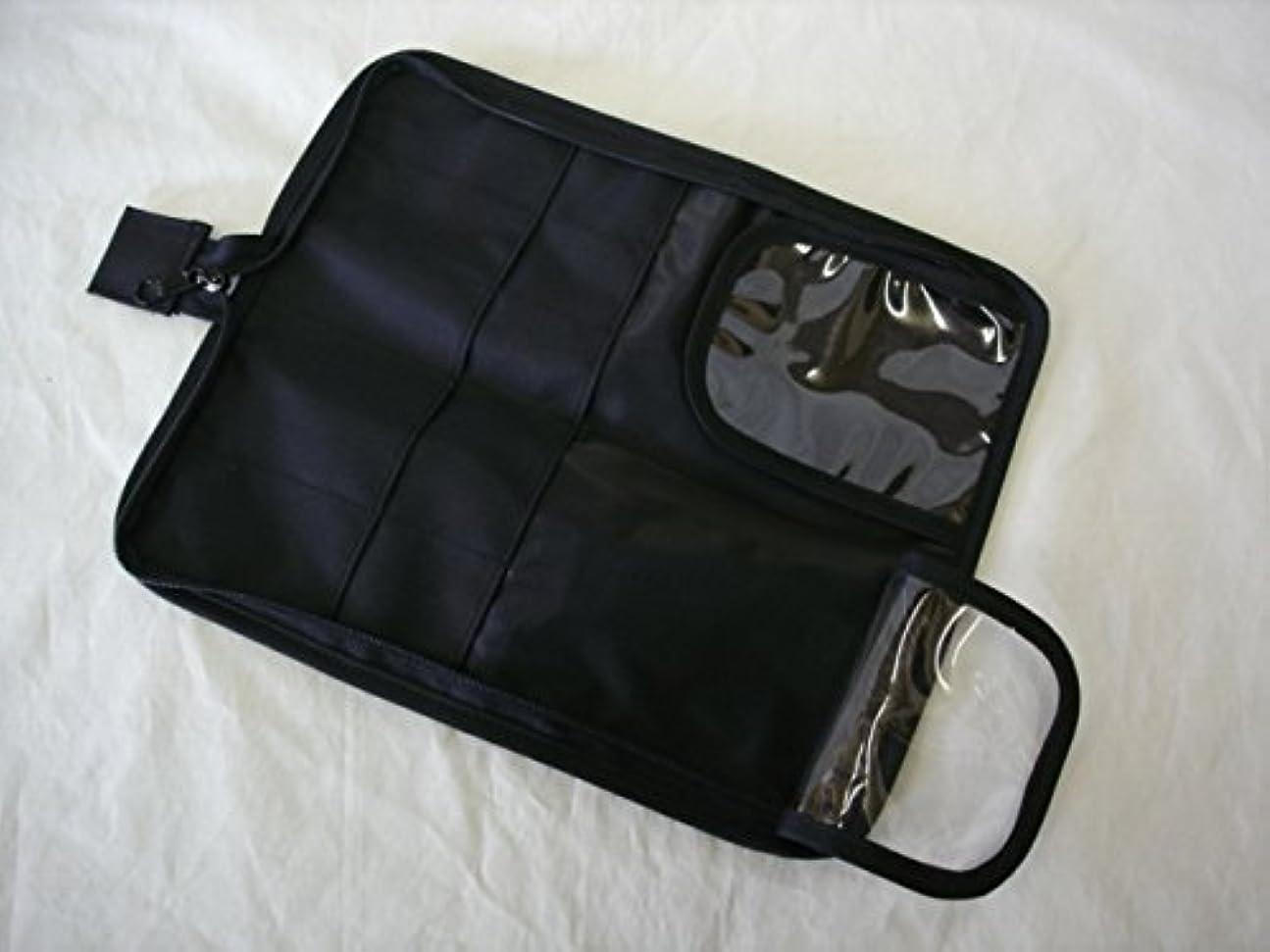 楽しむ禁止する調子日本製 メイクブラシケース10ポケット付ブラック