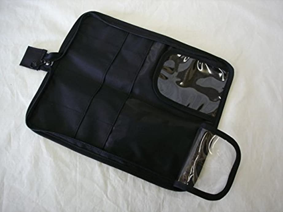 ベッドを作る制限するオフ日本製 メイクブラシケース10ポケット付ブラック