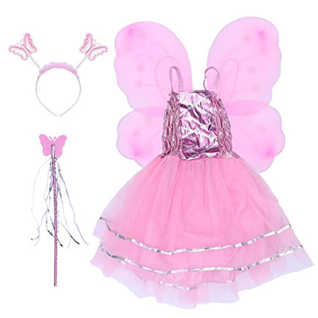 野生規則性どんよりしたBESTOYARD 4本の女の子バタフライプリンセス妖精のコスチュームセットバタフライウィング、ワンド、ヘッドバンドとツツードレス(ピンク)
