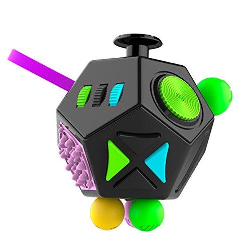 ストレス解消キューブ、ストレスと不安を和らげ、大人と子供のおもちゃ 抽出 サイコロ心理的な解凍 ルービックキューブサイコロノベルティ玩具 (黒)