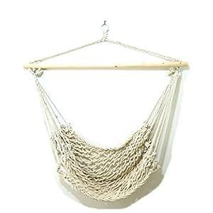 おしゃれなアウトドア極太ロープでゆったりハンモック生活!ハンモックチェア (白(太編み)100cm)