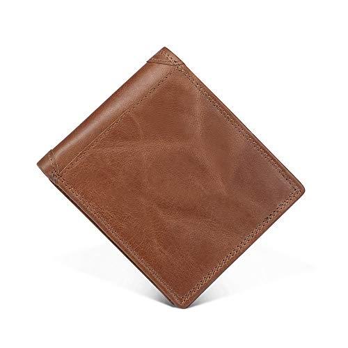 Emostya 財布 二つ折り メンズ 本革 大容量 ボックス型小銭入れ RFIDブロッキング 二つ折り財布 10枚カード収納 ブラウン