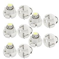 uxcell LEDダッシュボードランプウェッジ電球 SMD内蔵 3020 T3 車用 ホワイト 10個入り