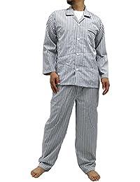 [ナイトウェアー] パジャマ 長袖 前開き 上下 セット ストライプ メンズ