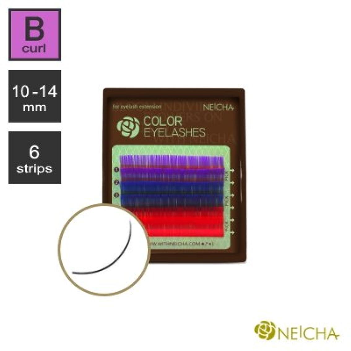 起こりやすい受け継ぐ有効化まつエク《目尻のポイントカラーが可愛い!》NEICHA 3カラーラッシュ (紫/青/赤) (Bカール) (6列) (10mm)