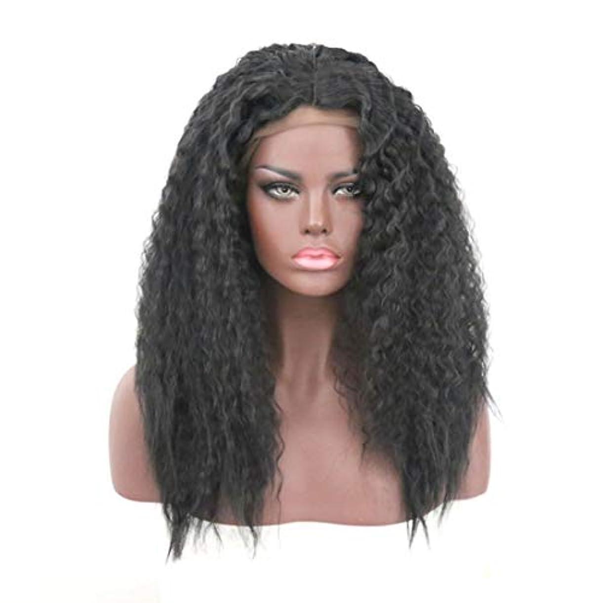 混合設計旅行代理店Kerwinner 女性のためのかつらフロントレーススモールロールブラックふわふわロング巻き毛