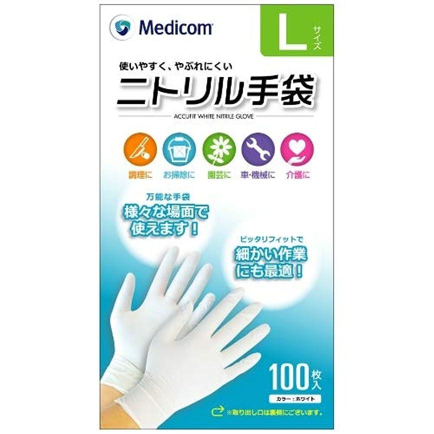 シェード渦きつくARメディコム Medicom ニトリル 手袋 Lサイズ 100枚入