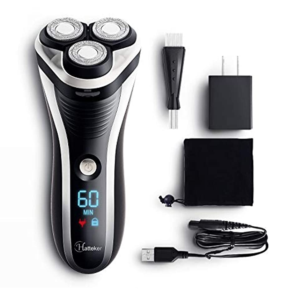 転倒厳しい疼痛HATTEKER 電気シェーバー 髭剃り メンズ シェイバー ひげそり 回転式 もみあげ 水洗いOK ウエット·ドライ剃り USB充電式· 交流式 LEDディスプレイ(一年間保証)