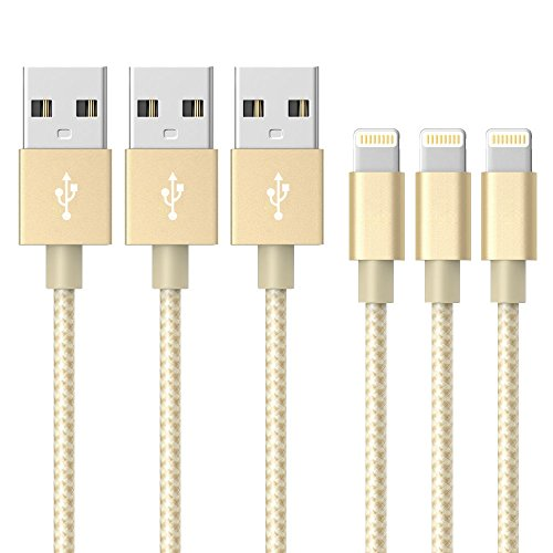AOFU ライトニング ケーブル 高耐久ナイロン Lightning ケーブルの同期とUSB充電ケーブル iPhone 7/7 Plus /6s/6s Plus/6 Plus/6/iPhone 5/5C/5S/SE/iPad/Air/Mini/Mini2/iPad 4/iPod 5/iPod 7に対応 Nano/Touch, ios10互換 (3M+3M+3M)