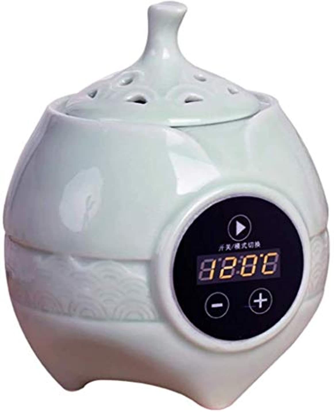 玉ねぎ呼び出す曲がったMYTDBD LCDの温度制御電子セラミックアロマ炉と香炉 (Color : White)