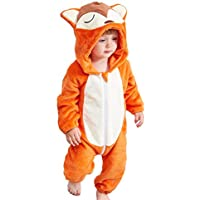 chinatera Newborn Baby Cartoon Animals Hooded Pajamas Flannel Rompers Pjs Homewear Front Zipper Jumpsuit