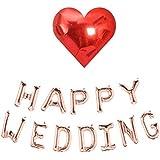 ウェディングバルーン セット 空気入れテスト済み HAPPY WEDDING ハッピー ウェディング オーナメント 結婚式 飾り付け イベント パーティーグッズ デコレーション アルファベット バルーン 飾り 風船 メール便 ぺたんこ状態で発送 (本州?通常2~5日で到着)