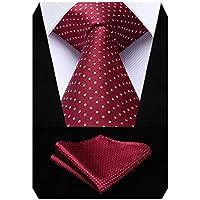 HISDERN Wedding Ties for Men Polka Dot Tie Handkerchief Woven Classic Men's Necktie & Pocket Square Set