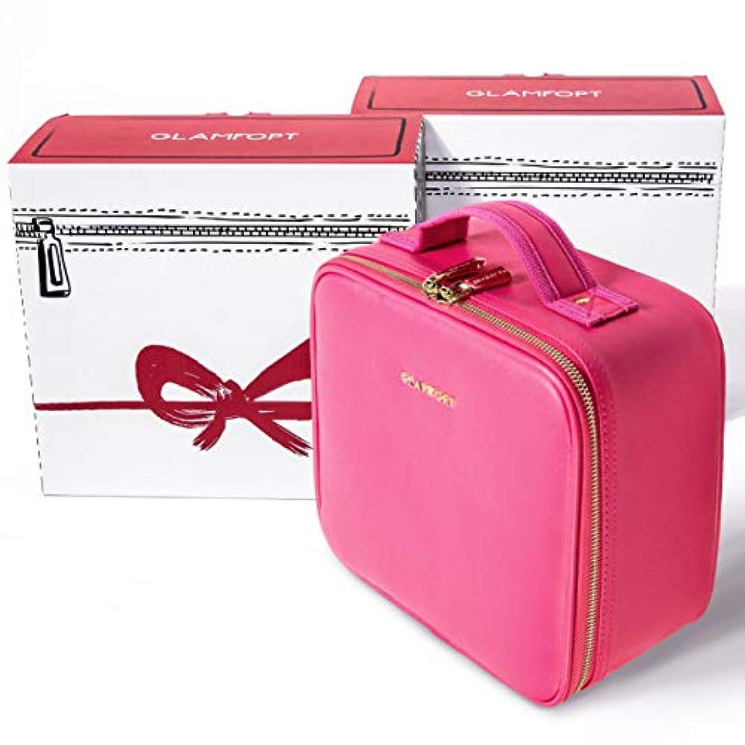 クラックポット付録楕円形コスメバック化粧ポーチコスメポーチローズレッドの高品質の旅行コスメポーチGLAMFORT