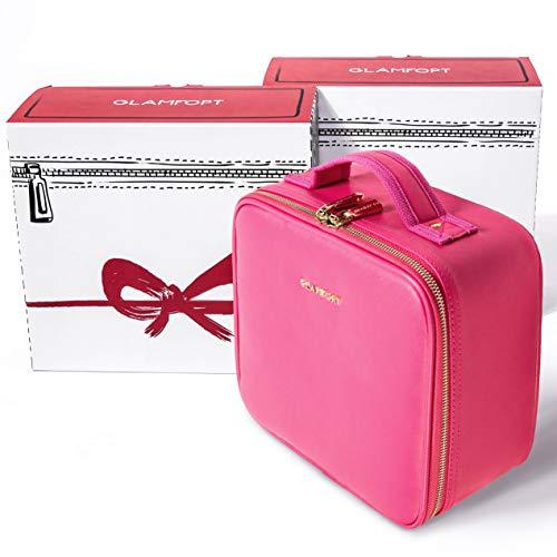 メイクボックス GLAMFORT コスメ収納スタンド 大容量、多機能、旅行用化粧バッグ 化粧ポーチ 化粧箱 置き方が調整できる 化粧道具入れ 収納ケース(ピンクS)
