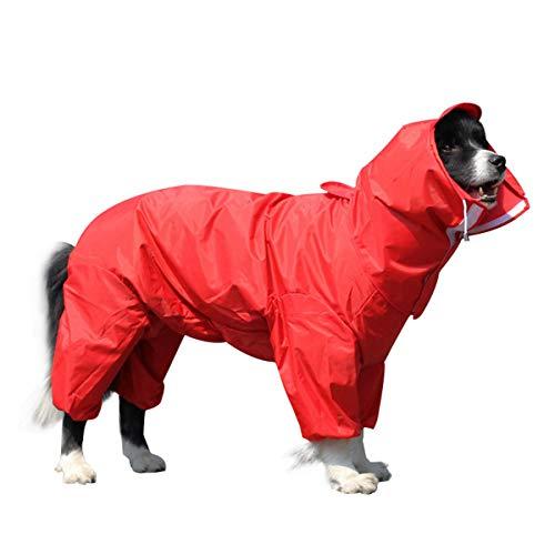 OTOKU 犬用レインコート レインコート ペットレインコート カッパ 犬用合羽 小型犬 中型犬 大型犬 帽子付 通気 完全防水 耐久性 快適 防風 防水 防雪 防塵 多色 多サイズ (16, 赤)
