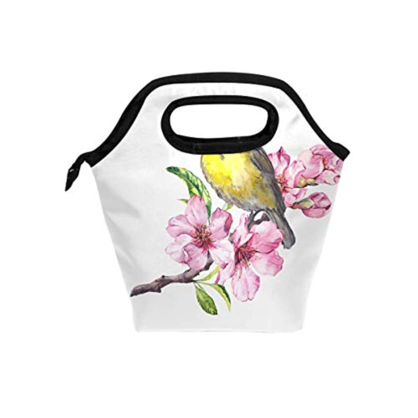 束ねるリレー汚いランチバッグ 弁当バッグ お弁当 お弁当箱 さくら 桜の花と鳥柄 保冷保温 保温弁当 大容量 手提げ 通勤 通学