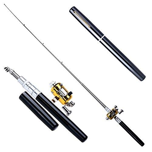 Chinatera Mens Mini Portable Pocket Fish Pen Aluminum Alloy Fishing Rod Pole Reel Combos One Size Black