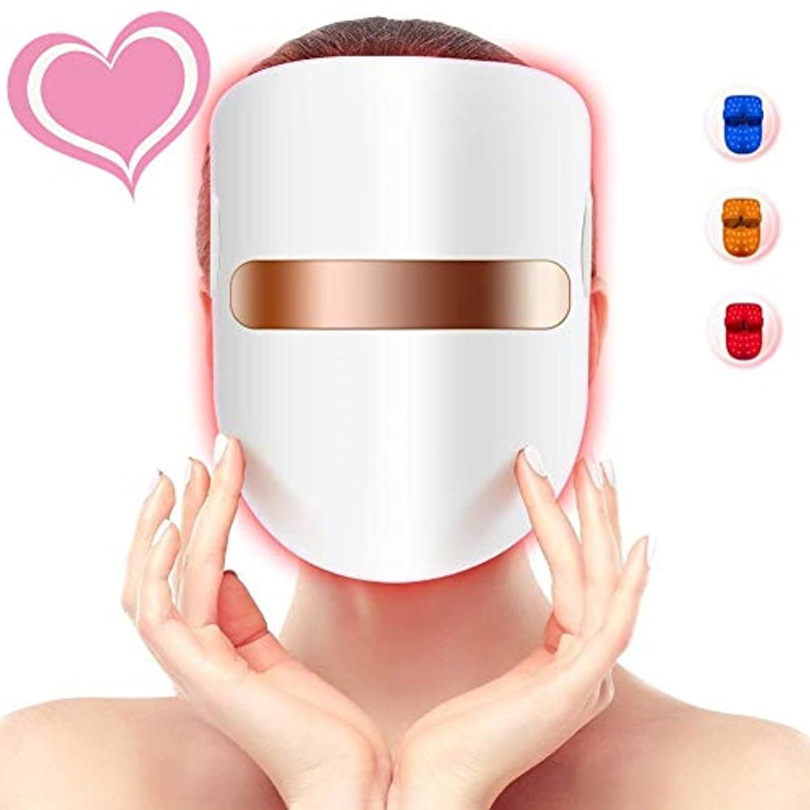 サイレント建築家失う3色の軽い療法のアクネのマスク、LEDの顔のマスク、導かれた光子療法の顔の美のマスクのにきびのしわのコラーゲンの顔のスキンケアの若返りのための無制限の処置