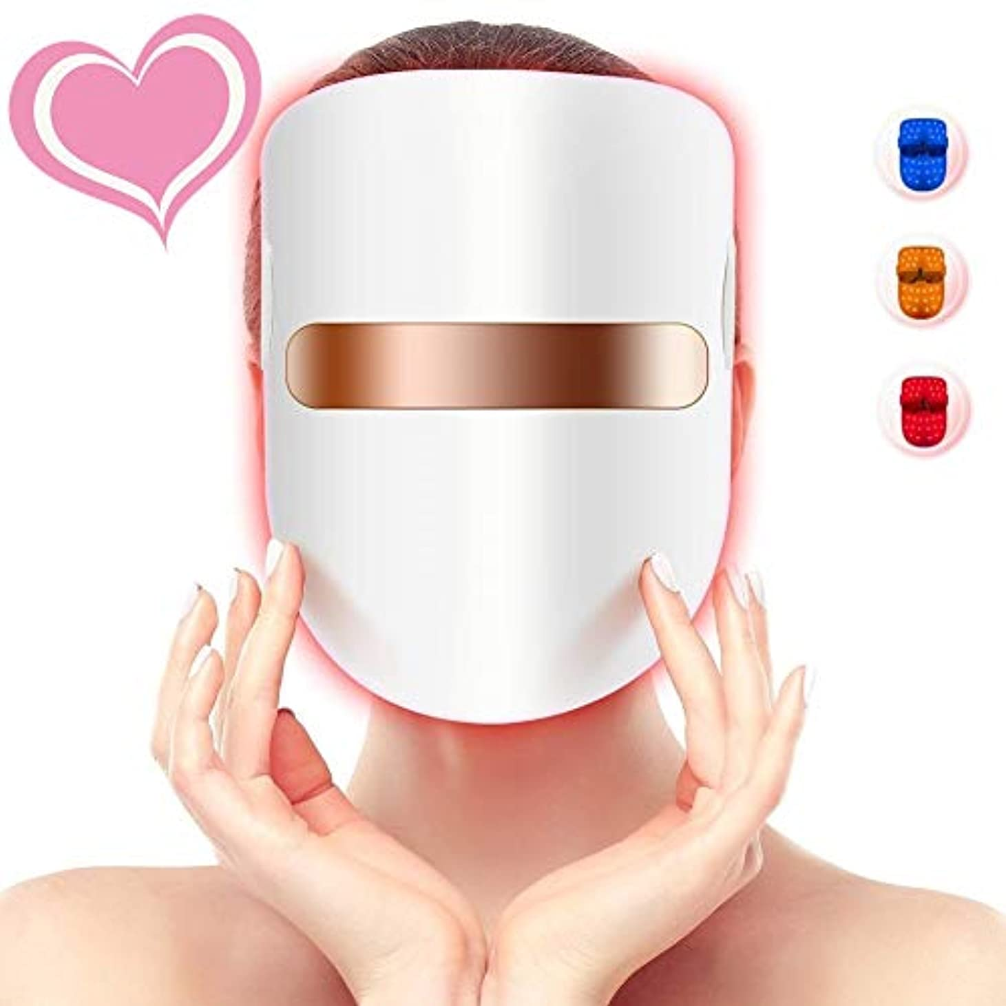 丁寧神秘的な曲3色の軽い療法のアクネのマスク、LEDの顔のマスク、導かれた光子療法の顔の美のマスクのにきびのしわのコラーゲンの顔のスキンケアの若返りのための無制限の処置