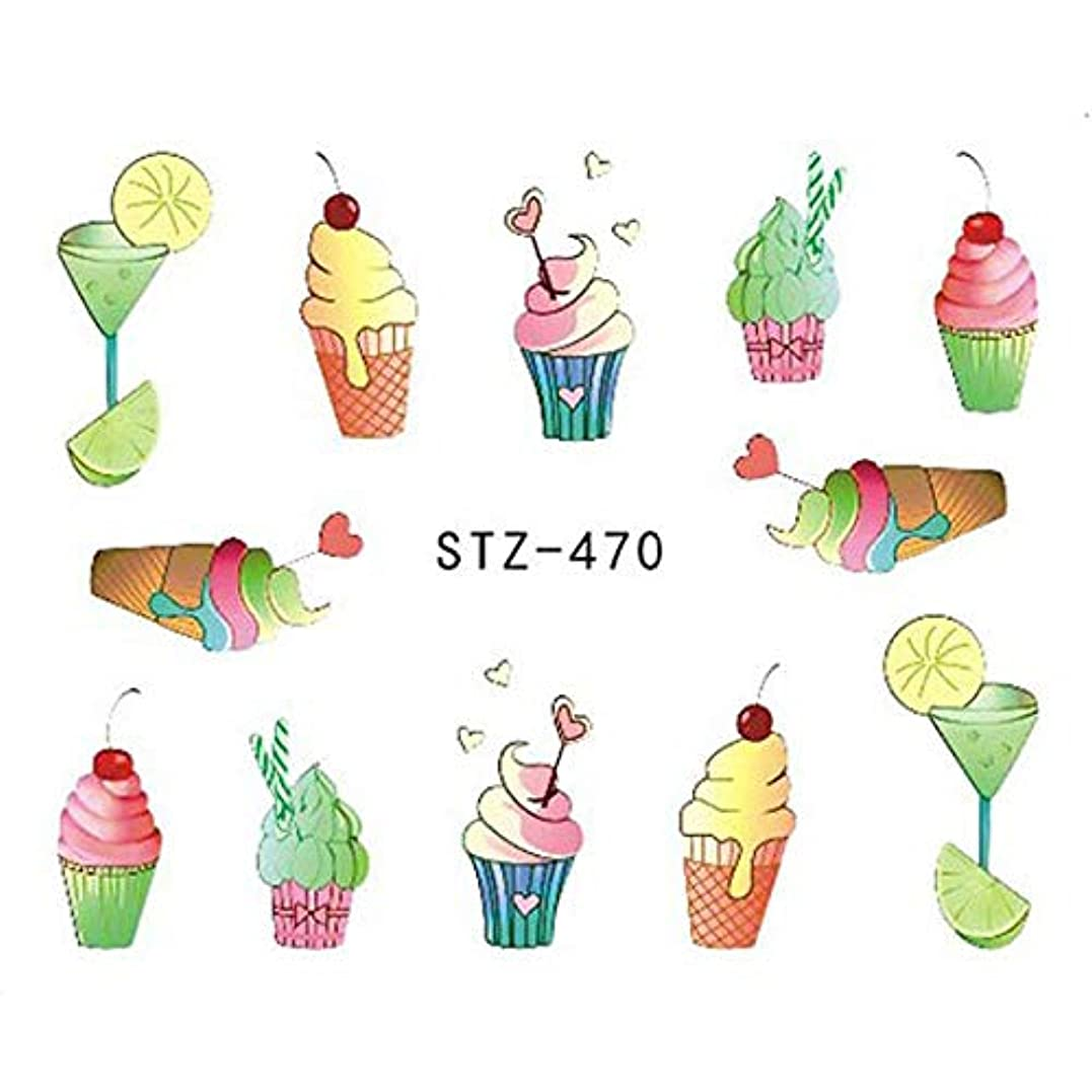 注意絶縁する靄SUKTI&XIAO ネイルステッカー 1ピースネイルステッカー水入れ墨夏アイスクリーム/ドリンク/フルーツ/花/蝶Diyデカールネイルアートクールな装飾、Stz470