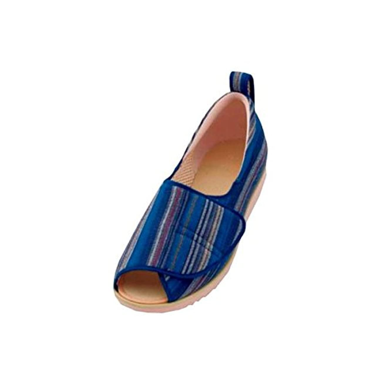 鉱石組立ブルゴーニュ介護靴 施設?院内用 オープン和(なごみ) 1026 片足 徳武産業 あゆみシリーズ /LL (24.0~24.5cm) 青(縞) 左足 ds-1433094