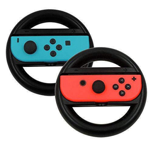 KuGi Nintendo Switch Joy-Con ハンドル 2個セット レースゲーム 専用ハンドル マリオカート8 専用 ハンドル ニンテンドー スイッチ ジョイコン ハンドル カバー シンプル 耐衝撃 ブラック