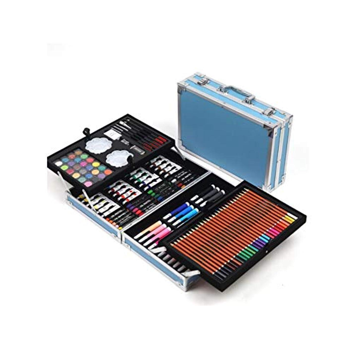条約しみ広々Yougou001 ペイントブラシ、持ち運びが簡単、168セットのペイントセット、ギフトボックスの学生がペイントツールを学ぶ、ペイントペン一式(ピンク/ブルー、168ピース) 技量は滑らかで快適です (Color : Pink, Size : 168 pieces)
