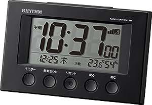 リズム時計 RHYTHM 電波 目覚まし 時計 フィットウェーブスマート ブラック 8RZ166SR02
