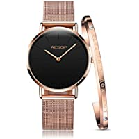 Ultra Thin Watches for Women Watches Waterproof Black/White Rose Gold Milanese Band with Bracelet Simple Fashion Ladies Watch Synthetic Sapphire Japan Analog Quartz Movement Watch New