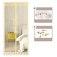 磁石が付いているスクリーンのドア白、磁気スクリーンのドアは自動的に網のカーテンを頑丈にします,Yellow,60x88in/150x220CM