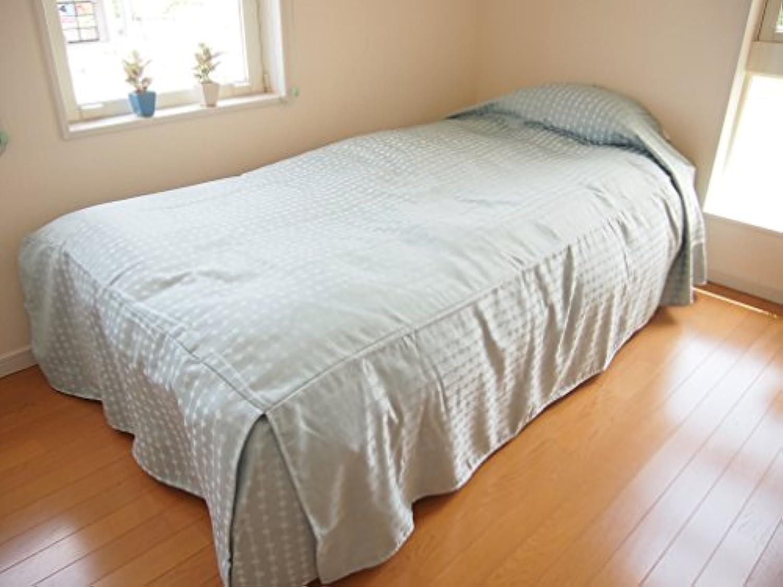 ベッドスプレッド(ベッドカバー) シングル サイズ:110×220×45cm (ピピン(ブルー)) ボックスタイプ/リーズナブル/北欧風/洗濯可能