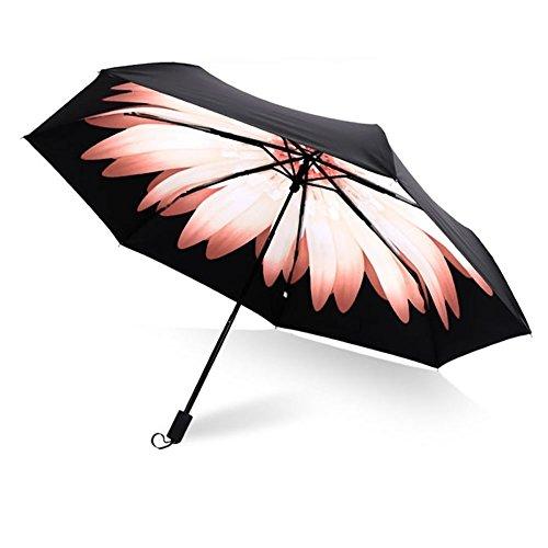Royanney 日傘 uvカット 100 遮光 折りたたみ 内側プリント 傘 黒 晴雨兼用傘 完全遮光 サンバリア 折りたたみ傘 花柄 花が咲く