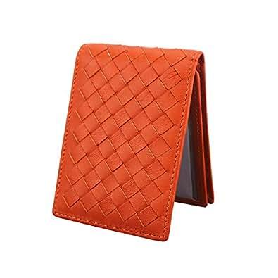 (エクスエイ)X.A 定期入れ カードケース 本革 カード入れ 名刺 ICカード 免許証 クレジットカード入れ パスケース 財布型 磁気消え防止 カードポケット 高級レザー 全8色 (オレンジ)