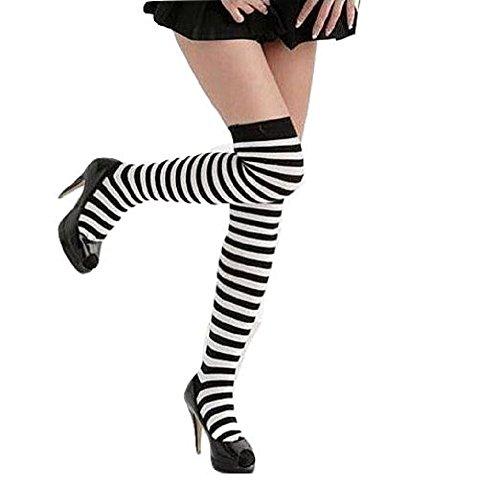 【2足セット】 シンプル ボーダー ニーハイソックス 靴下 くつ下 白黒 細ボーダー レディース オーバーニーソックス パンク・ロック ヴィジュアル系・V系 ゴシックロリータ・ゴスロリ メイド服などのコスチュームに! 綿素材 ブラック×ホワイト