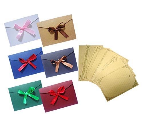 [comoza] リボン レトロ メッセージカード 封筒 つき 手紙 便箋 レターセット カラーセット (カラーセット)