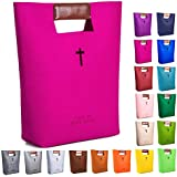 AGAPASS Bible Carrying Case, Handbag Felt Bible Cover for Women, Christian Bible Tote, Carved Cross Holy Bible Bag,PULeather Tote Church Bible Study Case,Bible briefcase Christian Gifts for Week Deals