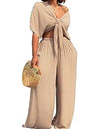 Candiyer 女性の服のスーツスーツトップスと2ピースロングワイド脚パンツ
