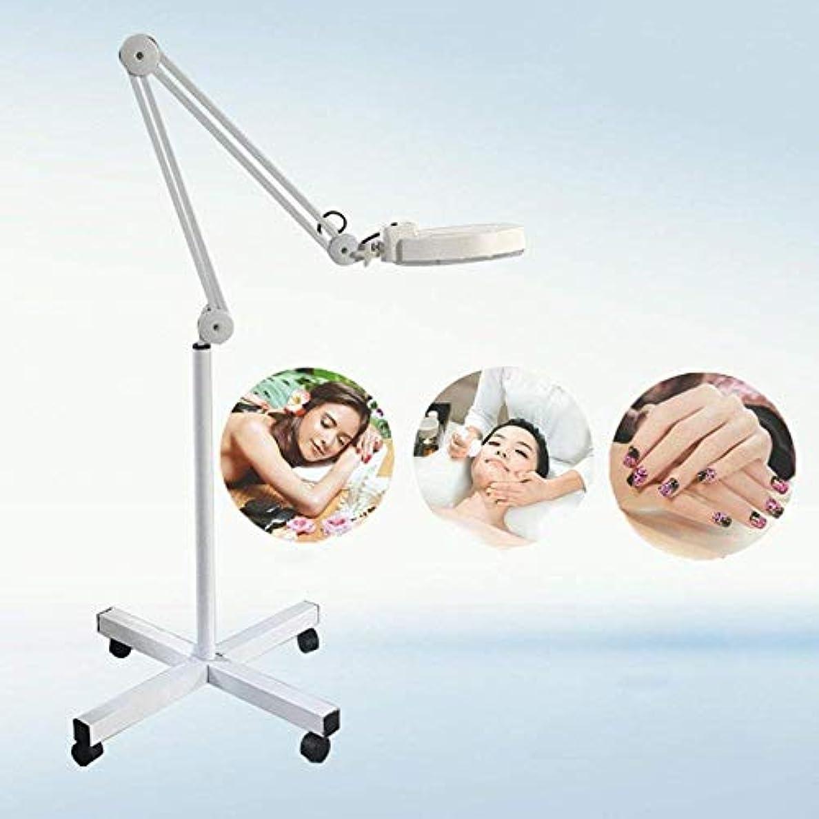 干渉野心現実には8X拡大ランプ、スキンケア美容ネイルマニキュアタトゥーサロン用の4つのスイベルキャスター付きの床置き拡大鏡ランプライト,White
