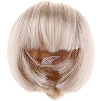 FLAMEER DIY ウィッグ ドールかつら 前髪 短髪 人形アクセサリー 全2色3サイズ  - 白, 1/4