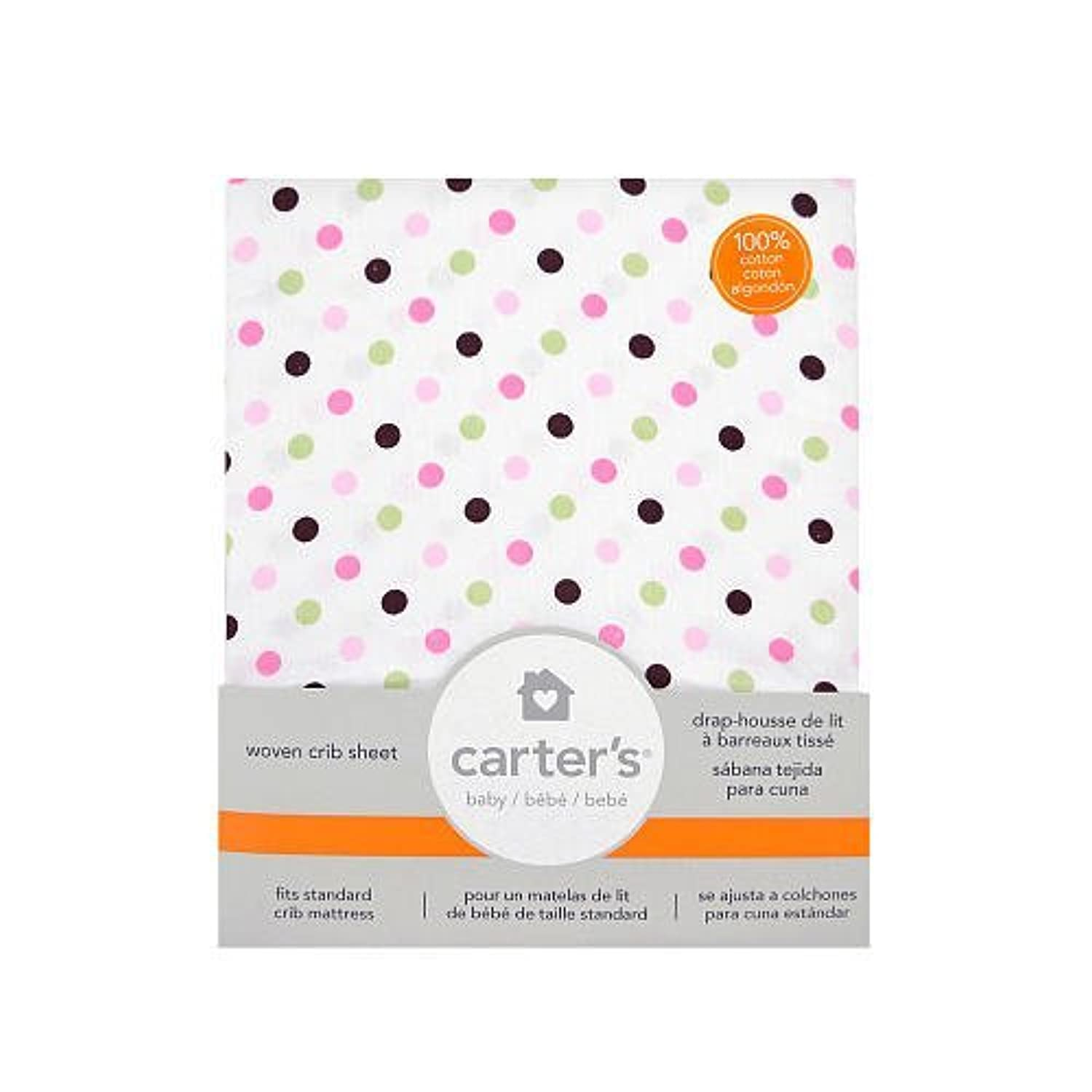 Carter's Fitted Crib Sheet Pink Dots by Triboro Quilt