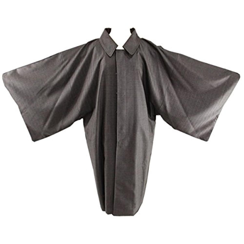 ウールコート メンズ -30-31-32- 角袖コート 和装コート 茶色 ストライプ 日本製