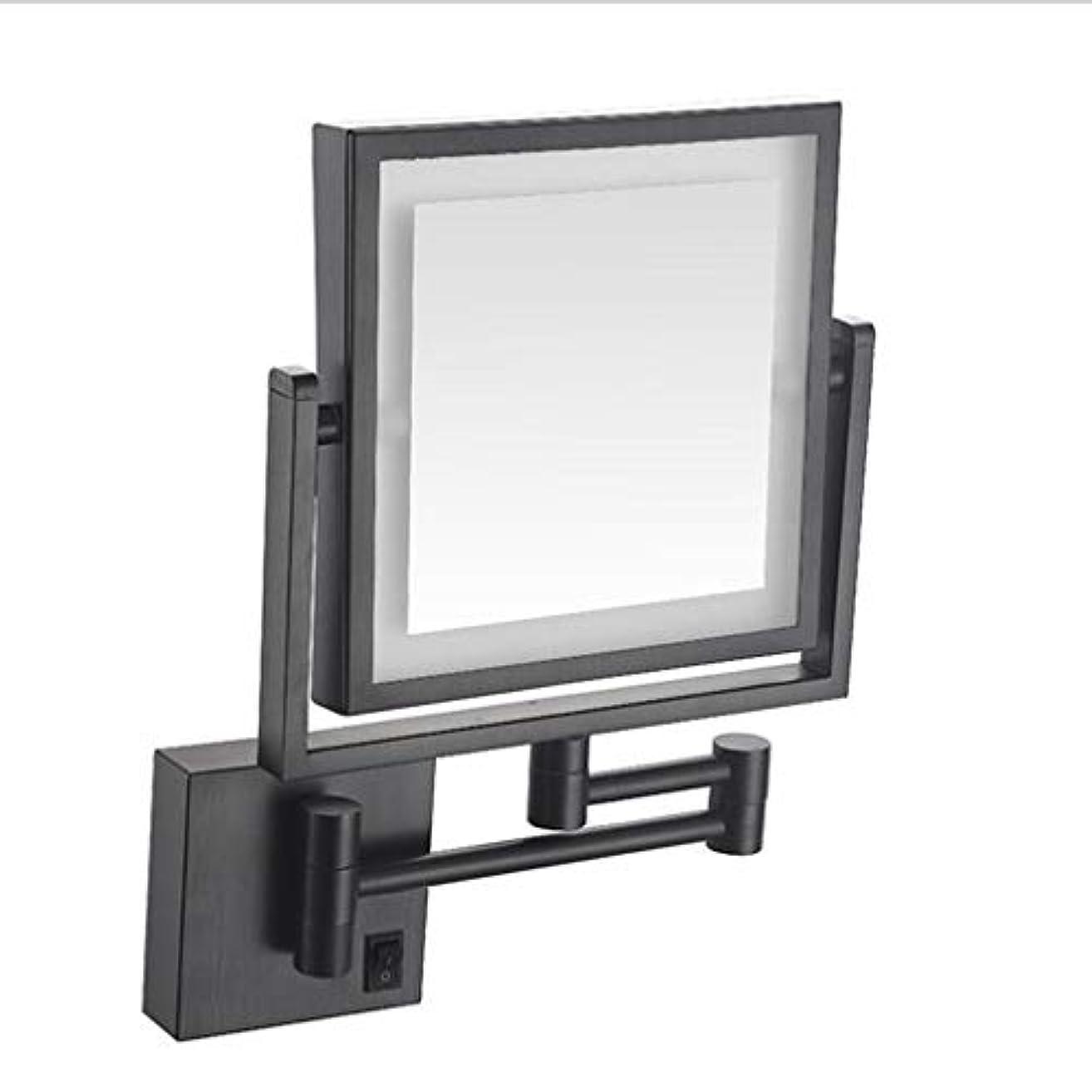 安息ファイバ肌寒いCUUYQ 化粧鏡LEDライト、両面 3倍拡大 けメイクミラー 360 °回転 壁掛け式 伸縮可能折り 化粧ミラー 8インチハードワイヤード接続,Black