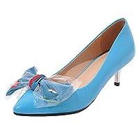 [Lydee] レディース シューズ 可愛い 蝶結び パンプス ミニヒール スリップオン パーティー ヒール ガールズ 制服 靴 Blue Size 34