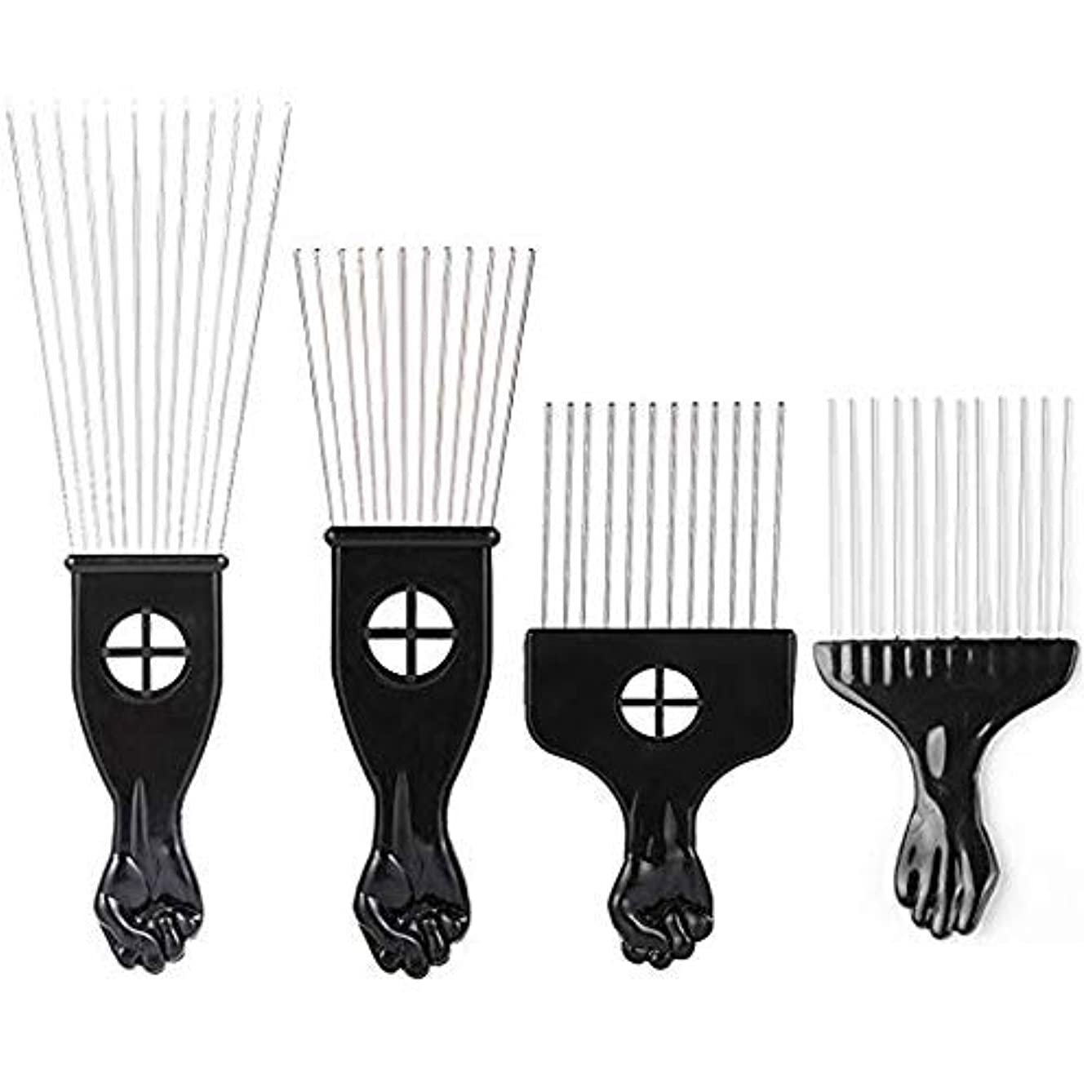 かび臭いハウス余裕があるBorogo Afro Combs, 4-Pack Afro Pick w/Black Fist - Metal African American Pick Comb Straight Hair Brush Hairdressing...