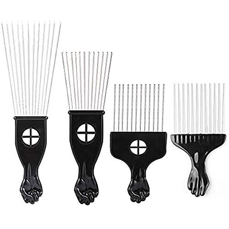 皮肉な深めるまたはどちらかBorogo Afro Combs, 4-Pack Afro Pick w/Black Fist - Metal African American Pick Comb Straight Hair Brush Hairdressing...