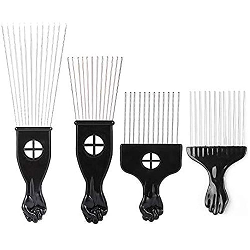 真剣にシリング現実的Borogo Afro Combs, 4-Pack Afro Pick w/Black Fist - Metal African American Pick Comb Straight Hair Brush Hairdressing...