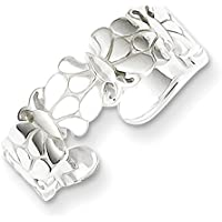 Lex & Lu Sterling Silver Polished Butterflies Toe Ring