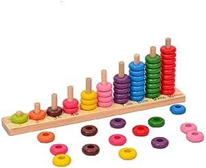 YIXIN 木のおもちゃ カウンティングナンバー タワー 数を学べ 算数 幼児教育 知育玩具〔並行輸入品〕